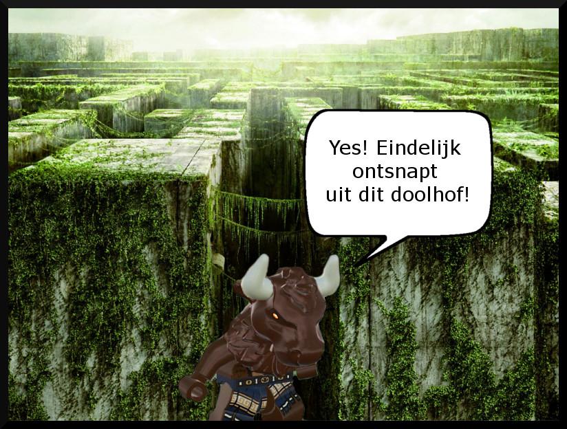 Comic image minotaurus maze
