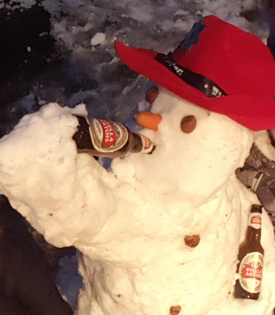 drunken snowman close up
